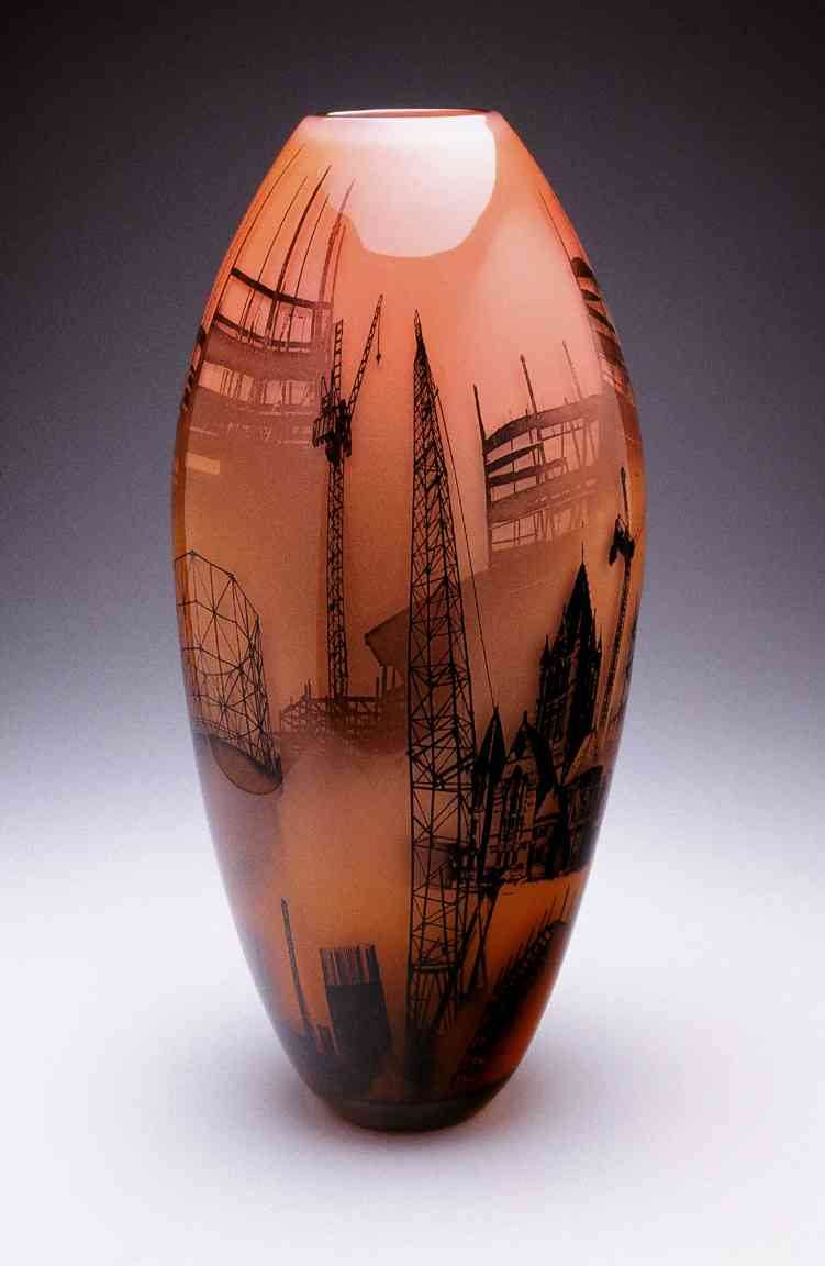 hand blown & painted glass vessel with imagery of the Boig Dig