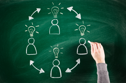 blackboard lightbulb and teamwork
