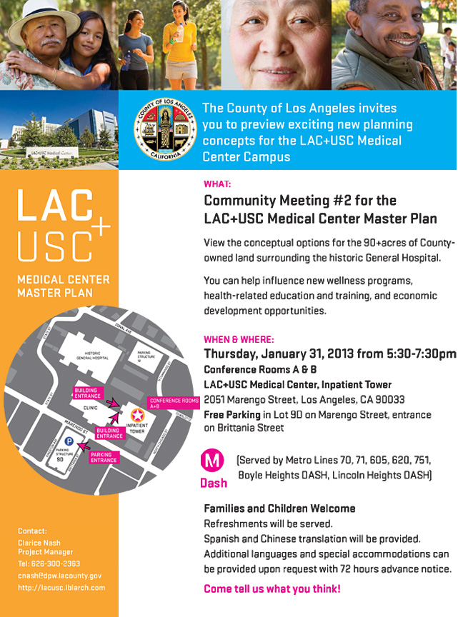 Invitation to Community Meeting #2 for LAC+USC Master Plan