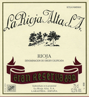 Rioja Alta 890 Label