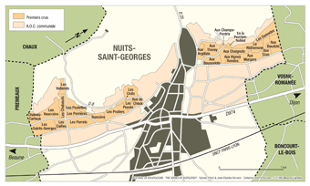 Nuits St Georges Map