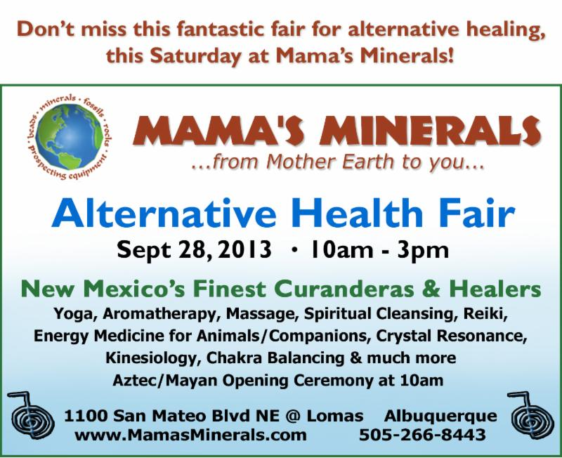 Don't miss our Alternative Health Fair at Mama's Minerals this Saturday!
