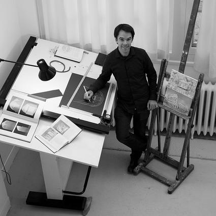 Mark Andrew Kelly in his studio