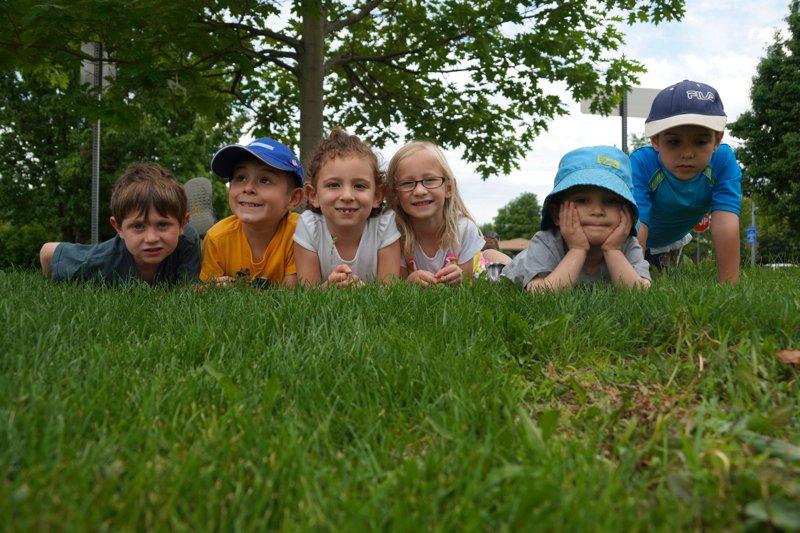 Camp Maayan kids on grass