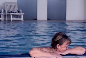 tired woman in pool