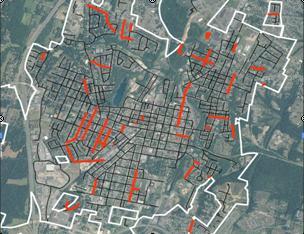 Martinsburg Street Segments Highlighted