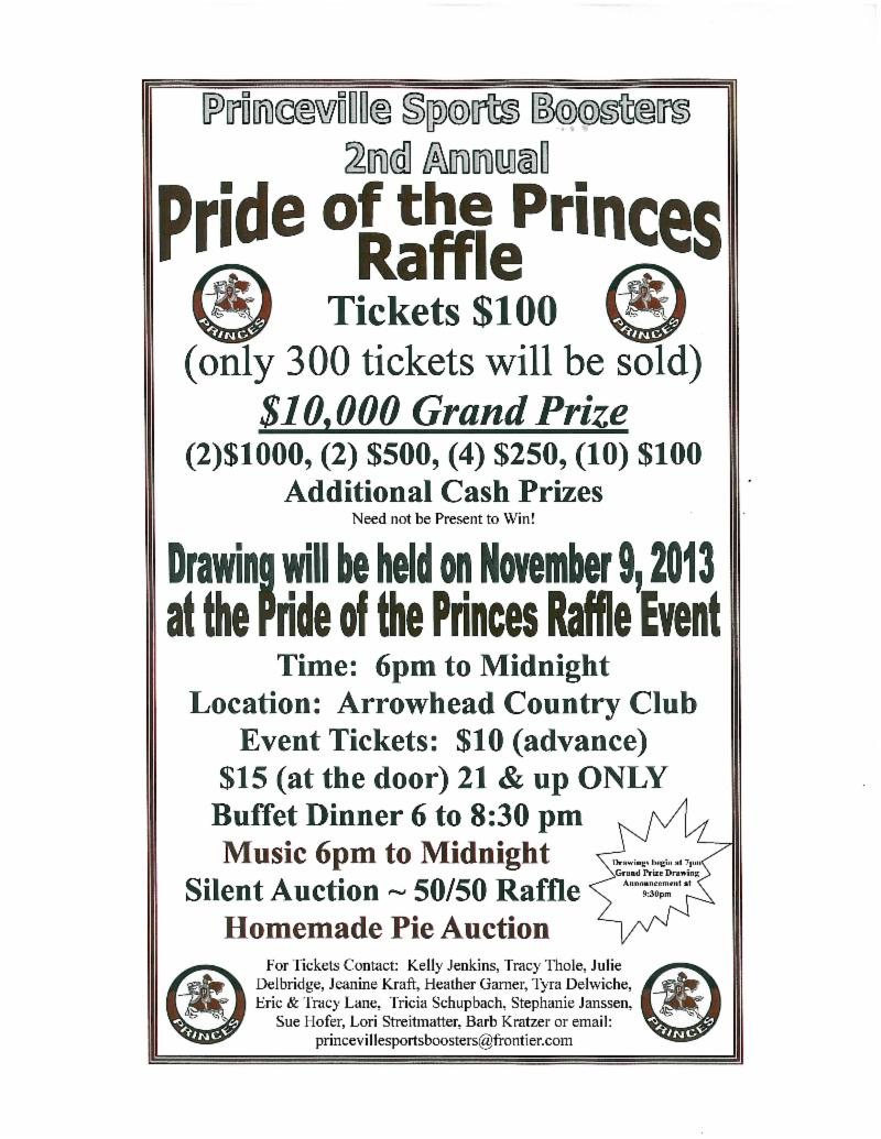 princeville civic association newsletter pride of the princes if vml >. Raffle Poster Ideas