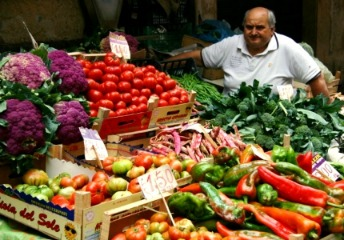 market vendor in Sicily