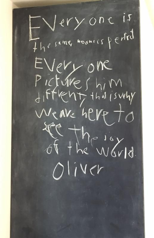 Eight year old Oliver wrote this after studying and coloring icons of Jesus.