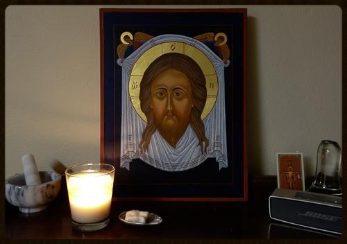 Holy Face Icon and Candle