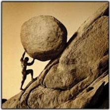 pushing stone uphill