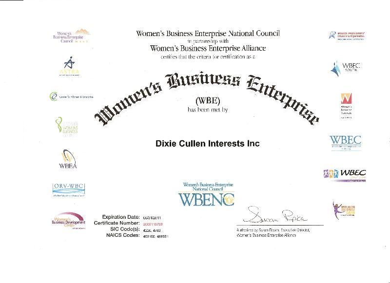 WBEA Certificate