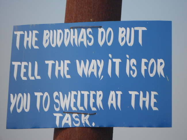 Sign at Buddha's birthplace