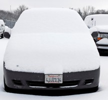 Snow-covered California car