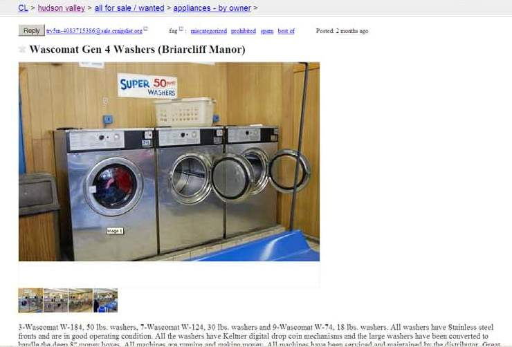 How do you sell used laundry equipment?