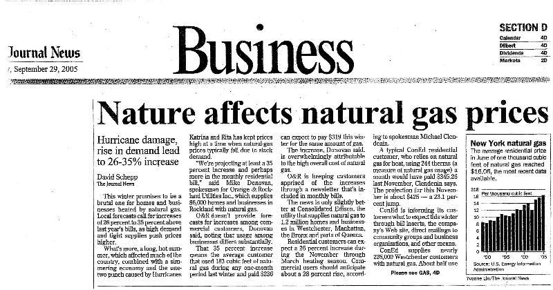 Newspaper Gas Increase Article