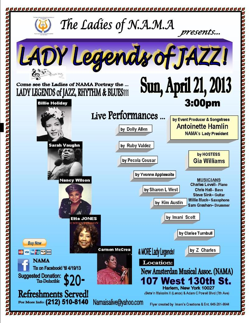 FLYER-NAMA- Lady Legends of Jazz 2013