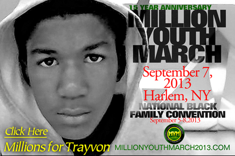 FLYER  Million YOUTH MARCH 2013 w. Trayvon M- Pic