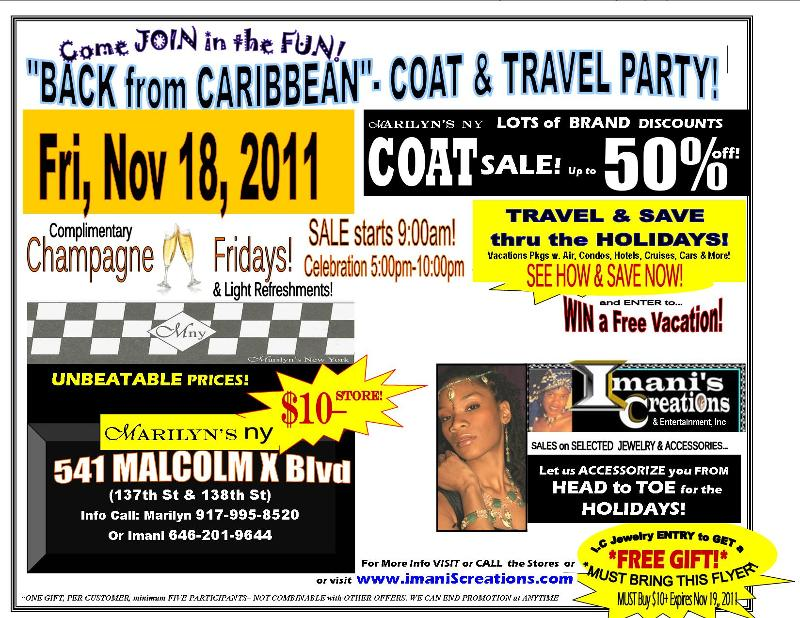 Flyer- Marilyn's COAT & TRAVEL Party!