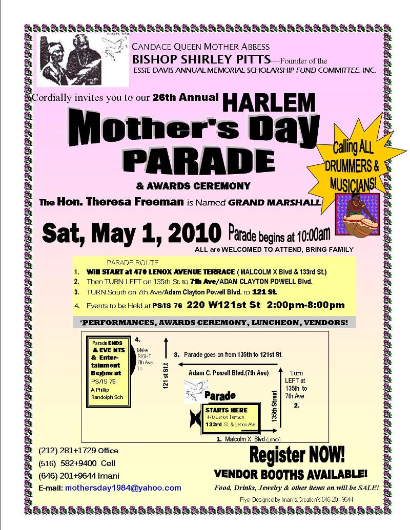 "FLYER- MOTHER""S DAY PARADE- w. THERESA FREEMAN"