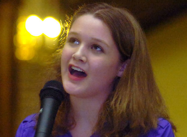 Gracie singing at Mass State House for Rare Disease Day