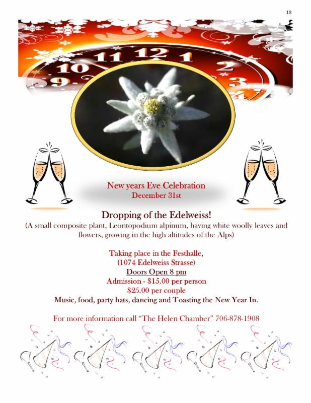 Helen GA - Up coming Events Through New years Eve!!