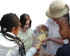 docent shares popcorn