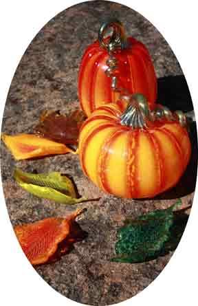 glass leaves & pumpkins