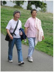 2 adults walking