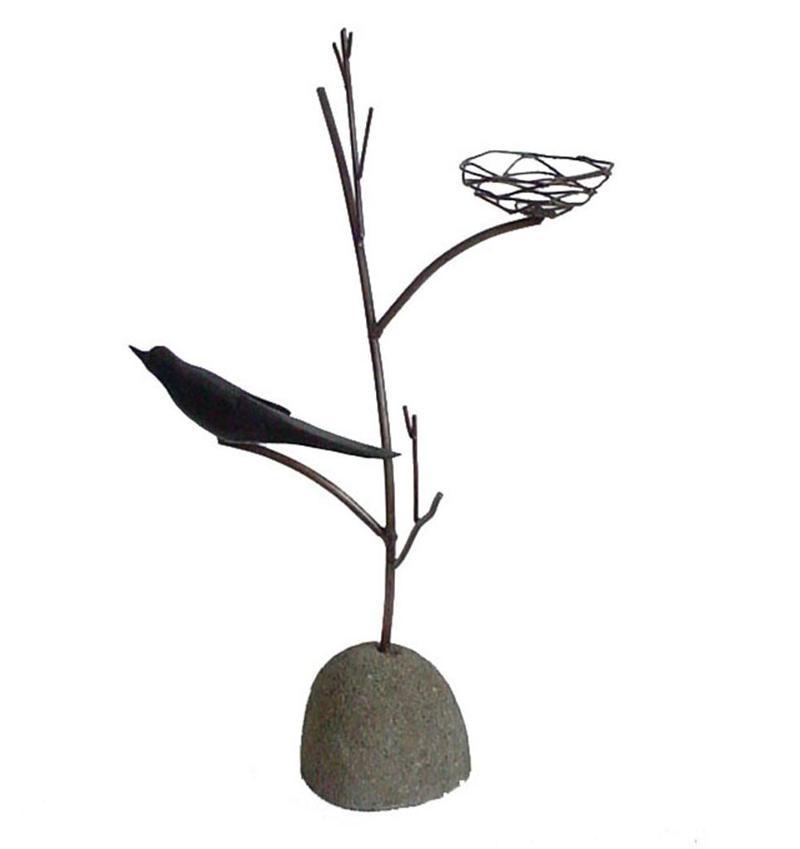 Blk Bird Candleholder