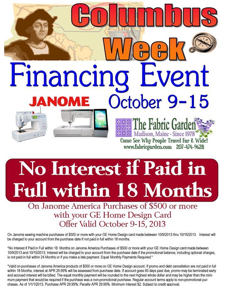 Columbus Week Financing Event on Janome Machines!