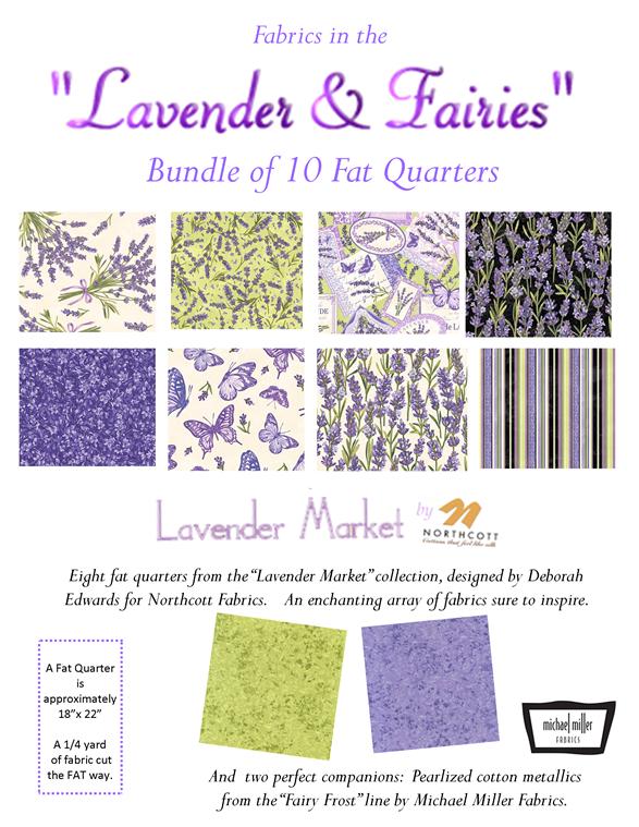 Fabric in the Lavender & Fairies fat quarter assortment