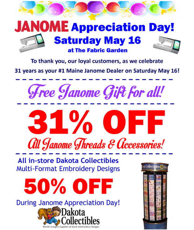 Janome Appreciation Day this Saturday