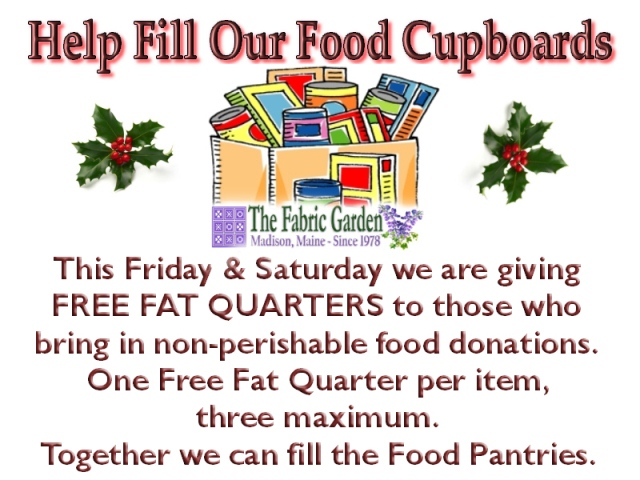 Help Us Fill the Food Pantries & Get Free Fat Quarters!