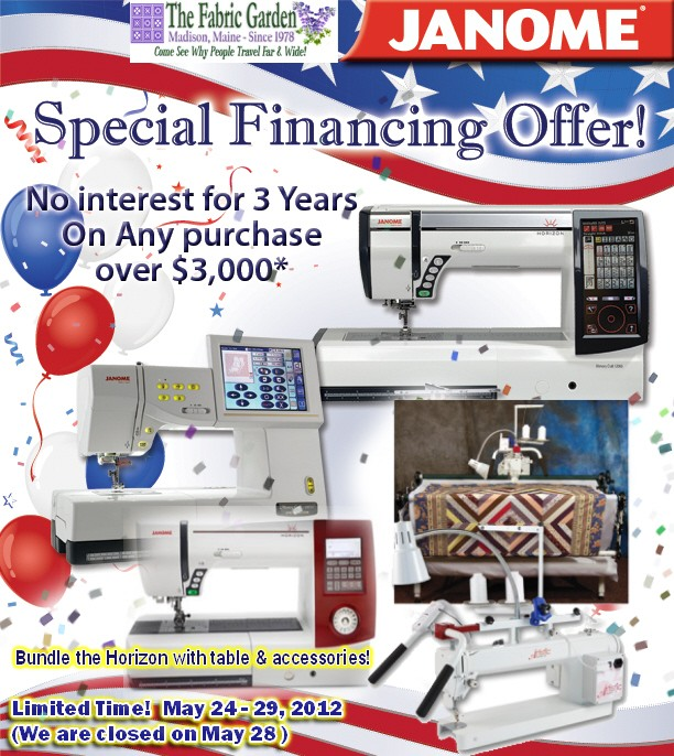 Janome THREE-YEAR Financing Offer!!