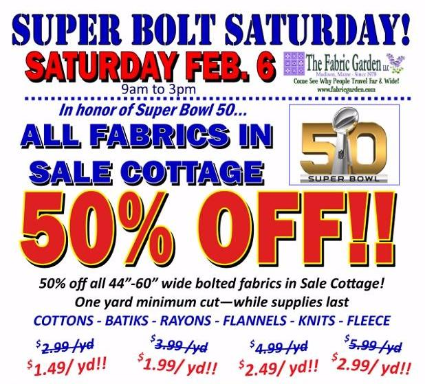 Super Bolt Saturday- 50_ off all bolted fabrics in Sale Cottage_