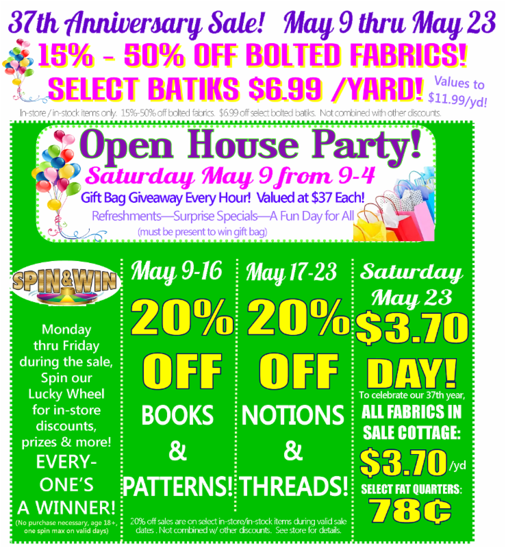 37th Anniversary Sale May 9 - 23