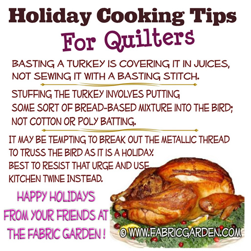 Holiday Cooking Tips for Quilters