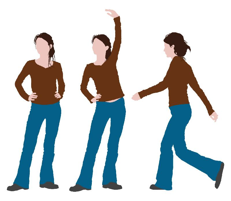 woman in 3 poses