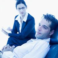 therapy female therapist male patient