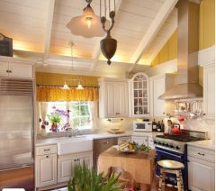 kitchen white cabinets bright walls