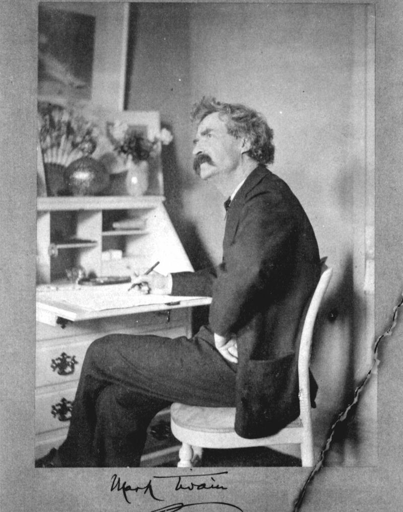 Twain at desk