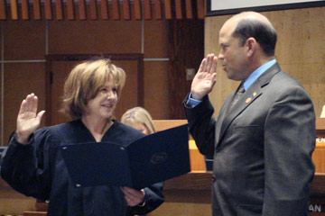 Frank being sworn in to the Arizona Senate
