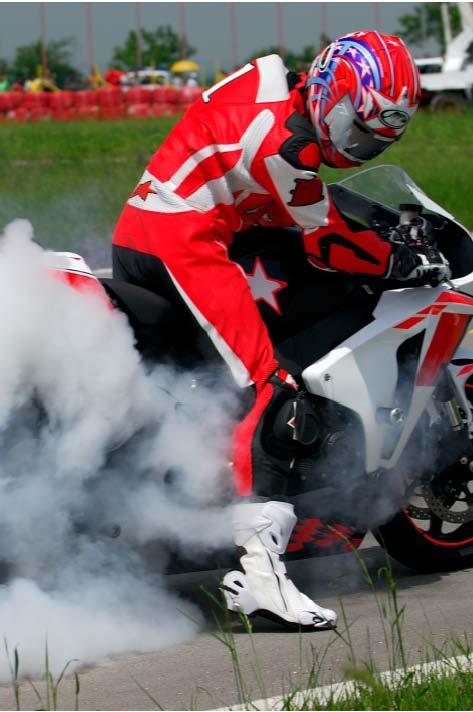 smoking motorcycle