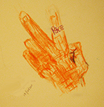 Sketch of hand forming peace sign.