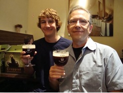 Dennis Tsonis and Son with Beer, Traveling