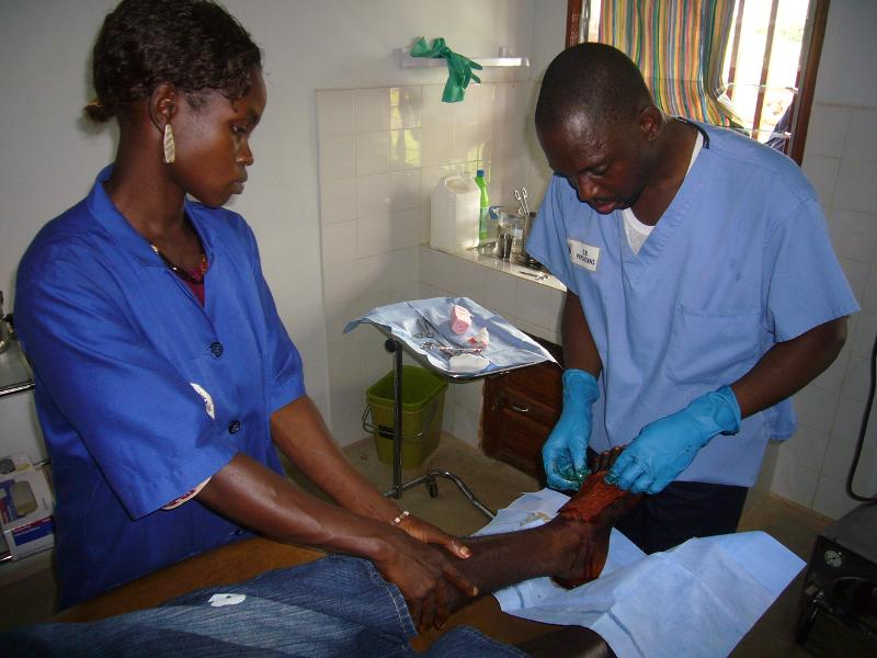 Lacina with wound care patient