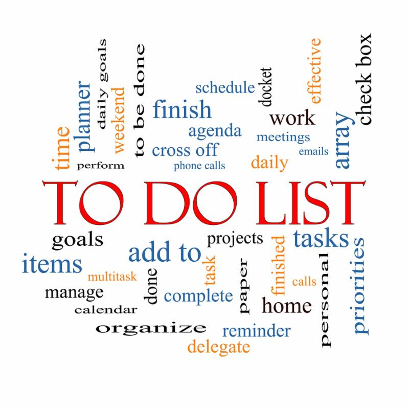 To Do List Word Cloud Concept with great terms such as tasks projects check box and more.