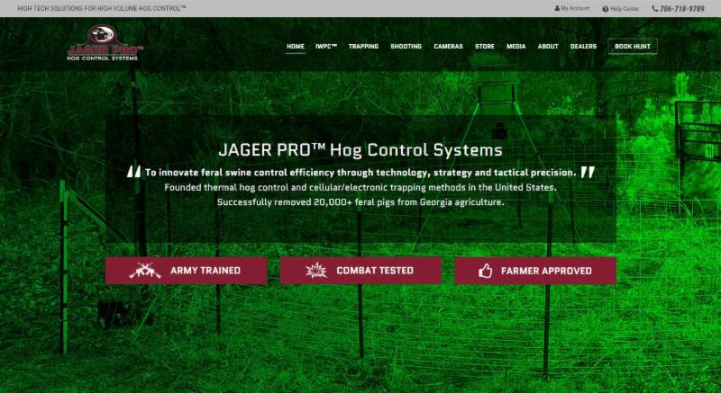 JAGER PRO Website Home Page