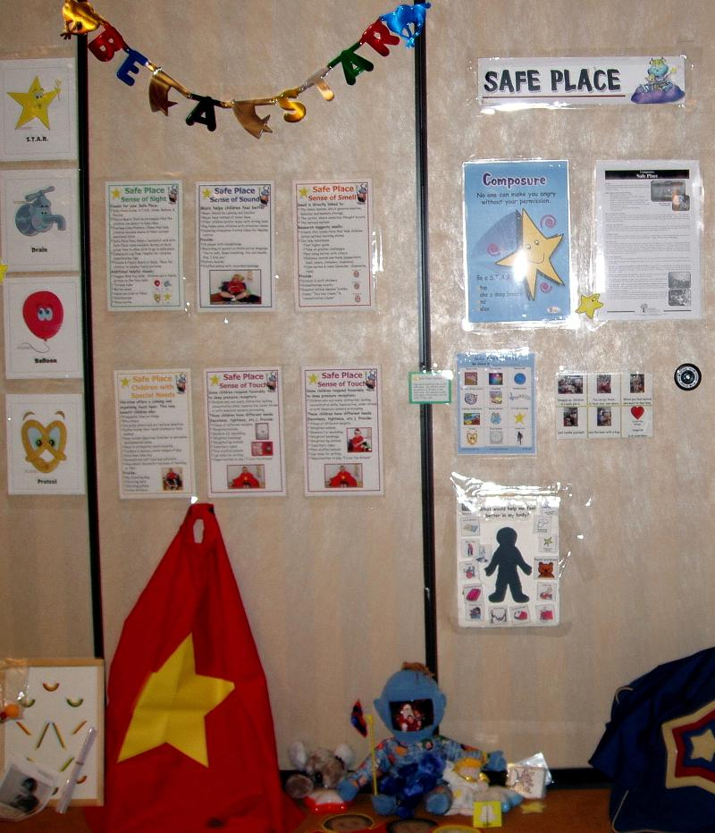 Safe Place poster & items by B. Bailey and PCU and Conscious Discipline